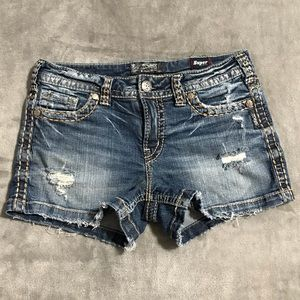Silver Aiko Mid Jean Shorts, size W29/L3!
